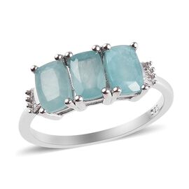 Grandidierite (Cush) and Diamond Ring in Platinum Overlay Sterling Silver 1.65 Ct.