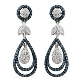 1 Carat Blue and White Diamond Cluster Drop Earrings in Platinum Plated Silver