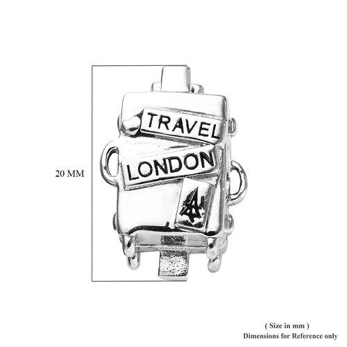 Charmes De Memoire Platinum Overlay Sterling Silver Travel London Charm, Silver wt 5.10 Gms