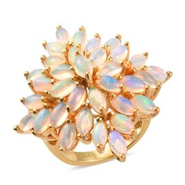 Ethiopian Welo Opal Cluster Ring in 14K Gold Overlay Sterling Silver 5.50 Ct, Silver wt. 8.06 Gms