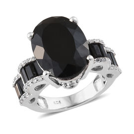 Black Tourmaline (Ovl 9.40 Ct),Boi Ploi Black Spinel, Natural Cambodian Zircon Ring in Platinum Over