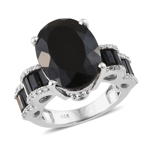 Black Tourmaline (Ovl 9.40 Ct),Boi Ploi Black Spinel, Natural Cambodian Zircon Ring in Platinum Overlay Sterling Silver 11.250 Ct.