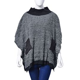 Black and White Colour Knitted Winter Poncho with 2 Pockets (Size 85x60 Cm)
