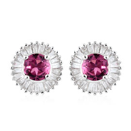 9K White Gold AA Ouro Fino Rubelite (Rnd), Diamond Stud Earrings (with Push Back) 0.750 Ct.