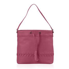 100% Genuine Leather Fuchsia Colour Draw String Bag (Size 31x29x11 Cm)