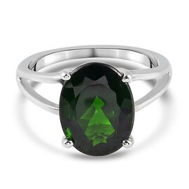 Russian Diopside Solitaire Ring in Platinum Overlay Sterling Silver 0.02 ct  0.020  Ct.