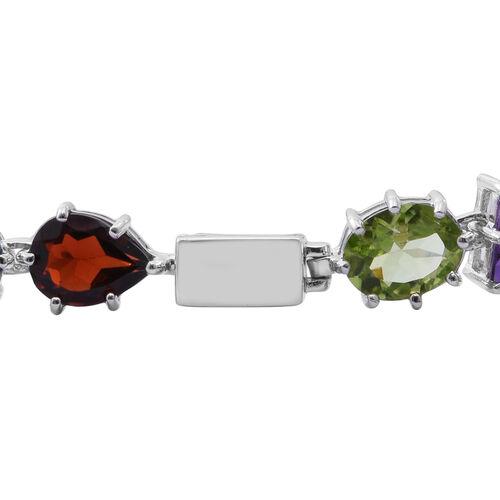 Rose De France Amethyst (Bgt), Hebei Peridot, Mozambique Garnet and London Blue Topaz Bracelet (Size 7.5) in Rhodium Plated Sterling Silver 25.000 Ct. Silver wt 10.00 Gms.