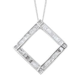 Diamond (Tapered Baguette) Pendant With Chain (Size 18) in Platinum Overlay Sterling Silver 0.500 Ct