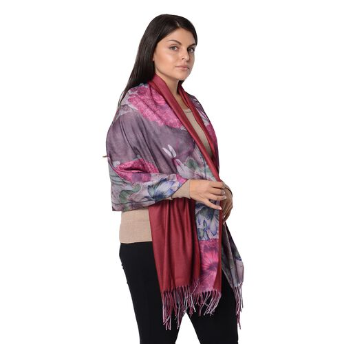Winter Reversible Digital Printed Lotus Pattern Scarf with Tassel (Size 70x180 Cm) - Wine and Rose Red