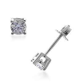 0.25 Ct Solitaire Stud Earrings with Push Back in 9K White Gold Diamond I3 GH