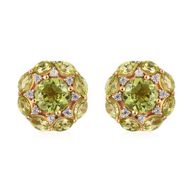 AA Hebei Peridot and Natural Cambodian Zircon Stud Earrings (with Push Back) in 14K Gold Overlay Ste