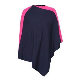 Kris Ana Fuschia Coloured Shoulder Navy Poncho One Size (8-18)