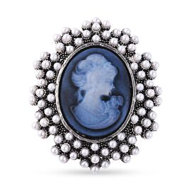 Cameo and Simulated Pearl Brooch or Pendant in Silver Plated