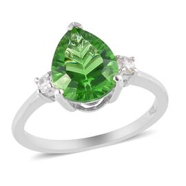 One Time Deal- Helenite (Pr 10x8mm) and Natural Cambodian Zircon Ring in Platinum Overlay Sterling S