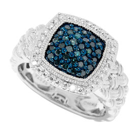 0.25 Carat Blue and White Diamond Cluster Ring (Size R) in Sterling Silver 6.4 Grams