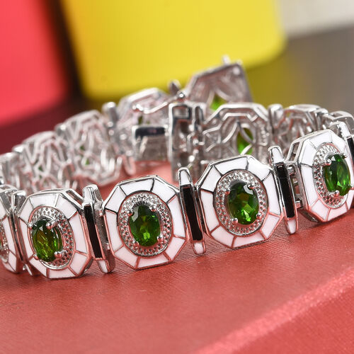 Russian Diopside Enamelled Bracelet (Size 7.5) in Platinum Overlay Sterling Silver 7.25 Ct, Silver wt 25.00 Gms