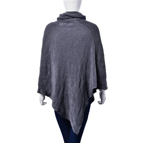 Close Out Deal - Grey Colour Long Collar Poncho (Free Size)