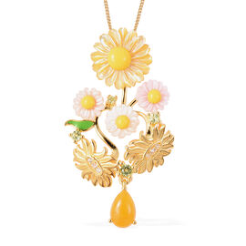 Jardin Collection - Yellow Mother of Pearl, Yellow Jade, Hebei Peridot and Natural Cambodian Zircon