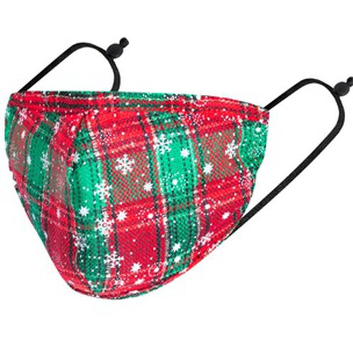 100% Cotton Snowflake Tartan Pattern Reusable Face Covering - Green, White and Red