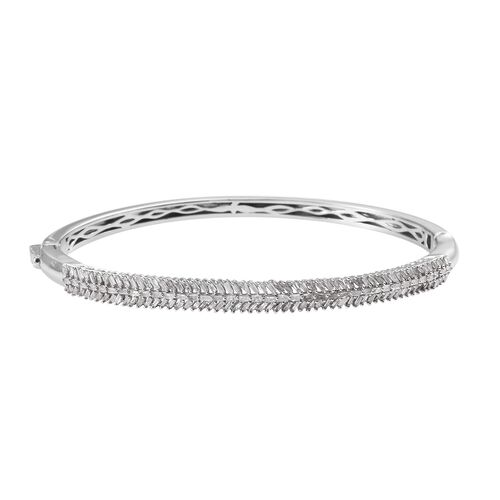 1.51 Ct Diamond Stacker Bangle in Platinum Plated Silver 15.10 Grams 7.5 Inch