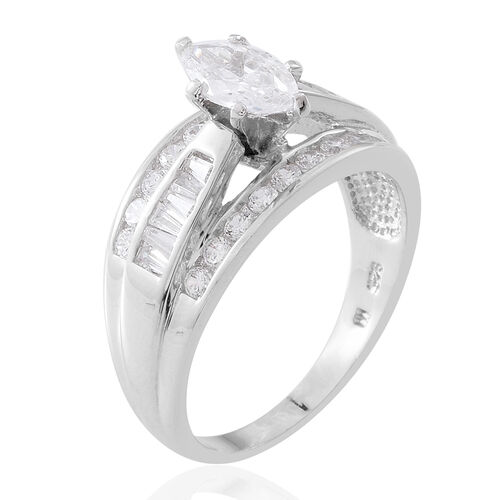 ELANZA Simulated White Diamond (Mrq) Ring in Rhodium Plated Sterling Silver. Silver wt. 5.90 Gms.