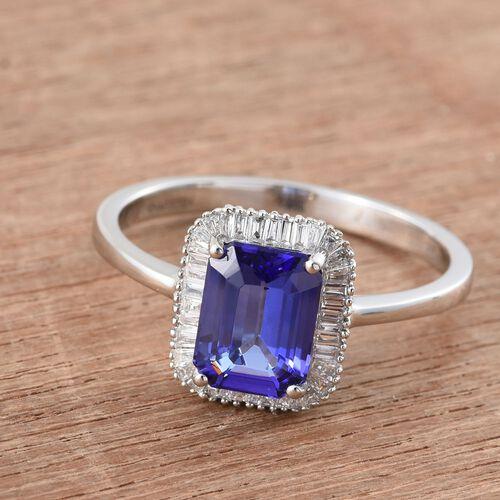 RHAPSODY 950 Platinum 3.25 Ct. Octagon AAAA Tanzanite Halo Ring with Diamond VS E-F