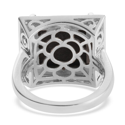 Meteorite (Sqr), Natural Cambodian Zircon Ring in Platinum Overlay Sterling Silver 3.17 Ct, Silver wt 5.78 Gms
