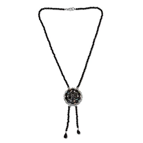 Boi Ploi Black Spinel and Multi Gemstone Bead Necklace (Size 18) in Platinum Overlay Sterling Silver 95.75 Ct, Silver wt 10.00 Gms