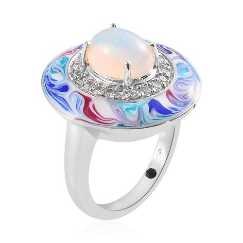 GP Ethiopian Welo Opal (Ovl), Natural Cambodian Zircon and Blue Sapphire Enamelled Ring in Platinum Overlay Sterling Silver 1.605 Ct, Silver wt 6.14 Gms