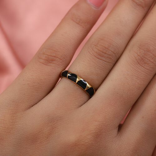 14K Gold Overlay Sterling Silver Enamelled Band Ring