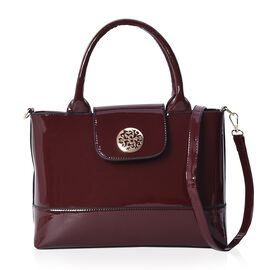 Boutique Inspired-Middle Size Tote Bag with Detachable Shoulder Strap (Size 46x23x11.5 Cm) - Burgund