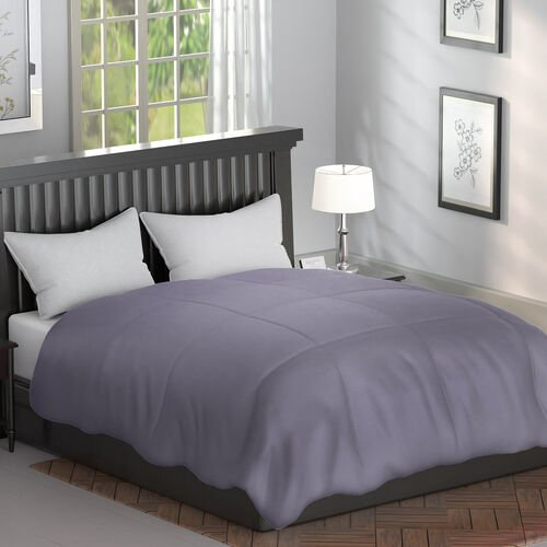 Serenity Night - Mulberry Silk Duvet with Square Quilting (Size King 225x220cm)- Silver Grey