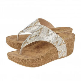 Lotus Patsy Toe Post Wedge Sandals in Gold Colour