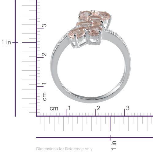 Marropino Morganite (Ovl) Crossover Ring in Platinum Overlay Sterling Silver 1.750 Ct.
