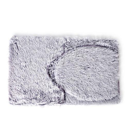 Light Grey Colour Faux Fur Bathmat (Size 80X50 Cm), Toilet Cover (Size 45X40 Cm) and Contour Mat (Size 50X40 Cm) with Anti Slip Rubber at Back