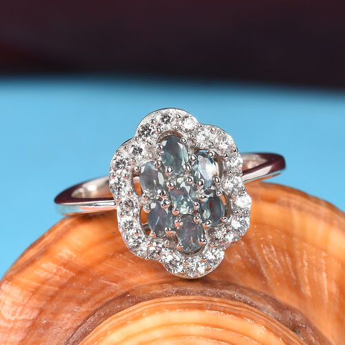 Narsipatnam Alexandrite and Natural Cambodian Zircon Ring in Platinum Overlay Sterling Silver 1.00 Ct.