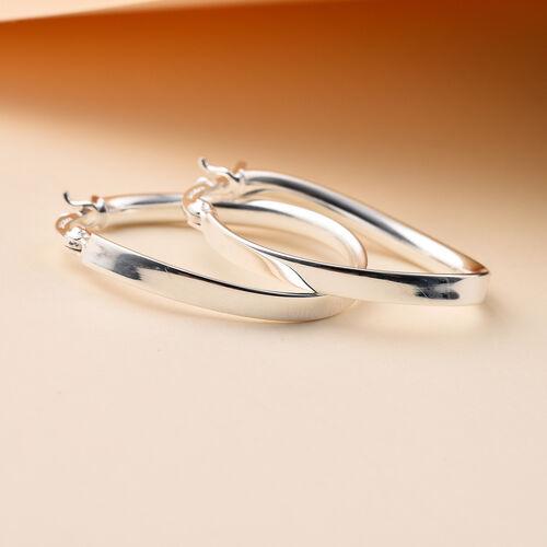 Italian Made - Sterling Silver Creole Wave Hoop Earrings