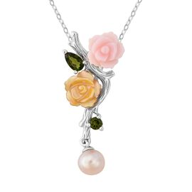 Multi Gem Stone Sterling Silver Pendant With Chain  4.430  Ct.