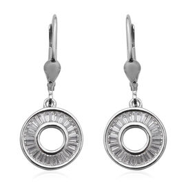 ELANZA Simulated Diamond Drop Earrings in Rhodium Plated Sterling Silver 3.39 Grams