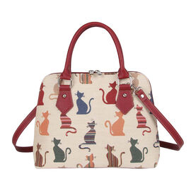 SIGNARE - Tapastry Collection - Cheeky Cat Top-Handle Shoulder Bag with Removable Strap ( 36 x 23 x 12.5 Cms)