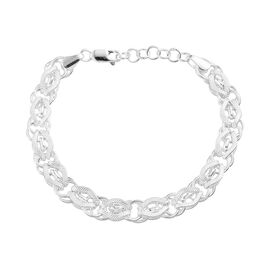 Artisan Crafted Fancy Link Chain Bracelet in Sterling Silver Size 7 with 1 inch Extender 14.50 Grams