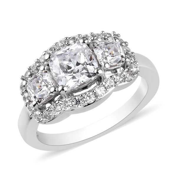 J Francis - Platinum Overlay Sterling Silver Ring Made with SWAROVSKI ZIRCONIA 3.96 Ct.