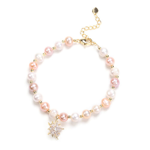 Multi Colour Freshwater Pearl and Simulated Diamond Star Charm Bracelet (Size 7.5 with 1.5 inch Exte
