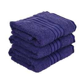 Set of 3 - Egyptian Cotton Terry Hand Towel - Navy