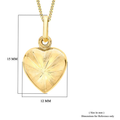 9K Yellow Gold Heart Pendant, Gold wt 1.01 Gms