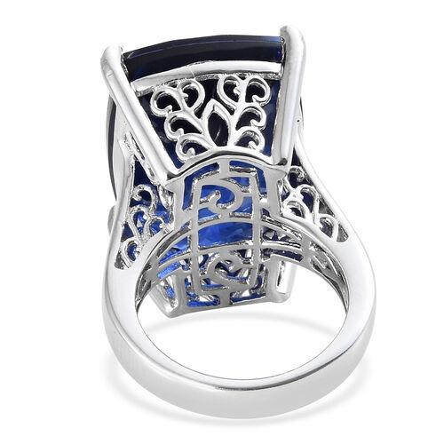 Minas Gerais Twilight Quartz (Cush) Solitaire Ring in Platinum Overlay Sterling Silver 28.250 Ct, Silver wt 7.91 Gms