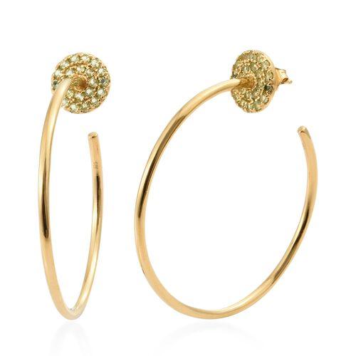 Designer Inspired - Hebei Peridot (Rnd) Hoop Earrings in 14K Gold Overlay Sterling Silver 1.750 Ct,