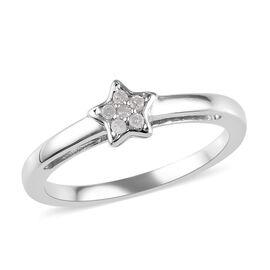 Diamond Star Stacker Platinum Overlay Sterling Silver