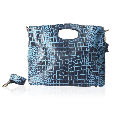 Genuine Leather RFID Blocker Blue Colour Croc Embossed Convertible Tote or Sling Bag (Size 45X32X8 C