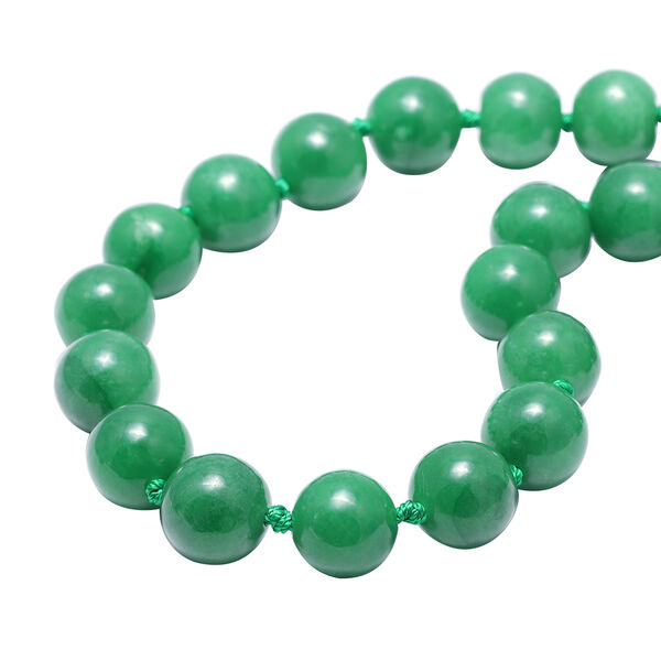 Very Rare Burmese Green Jade Bead Necklace (Size 20) (Round 15-16 mm) with Magnetic Clasp in Rhodium Plated Sterling Silver 950.00 Ct.
